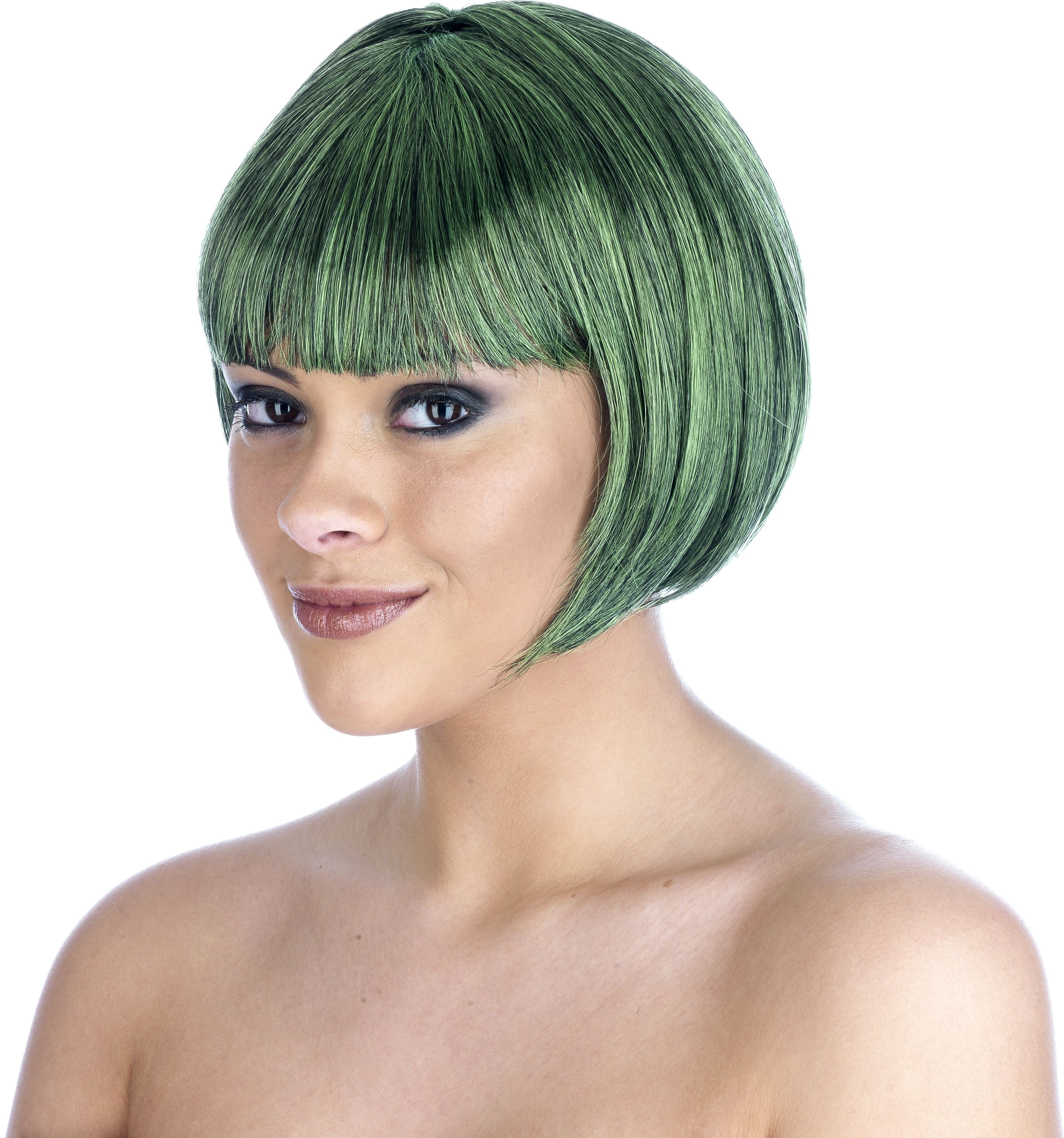 Dark Green Bob Wig (Pet) (95G) One Size Ladies (1920S)