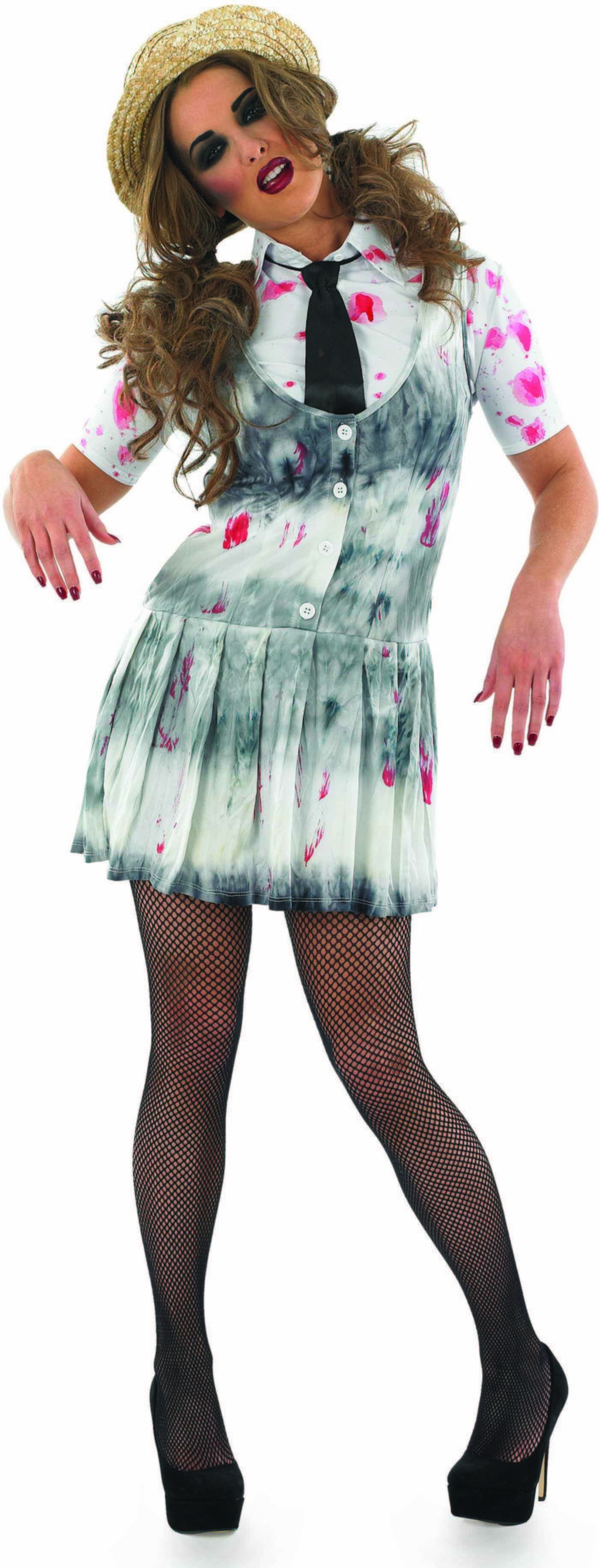 Ladies White (Zombie School Girl)Fancy Dress Costume