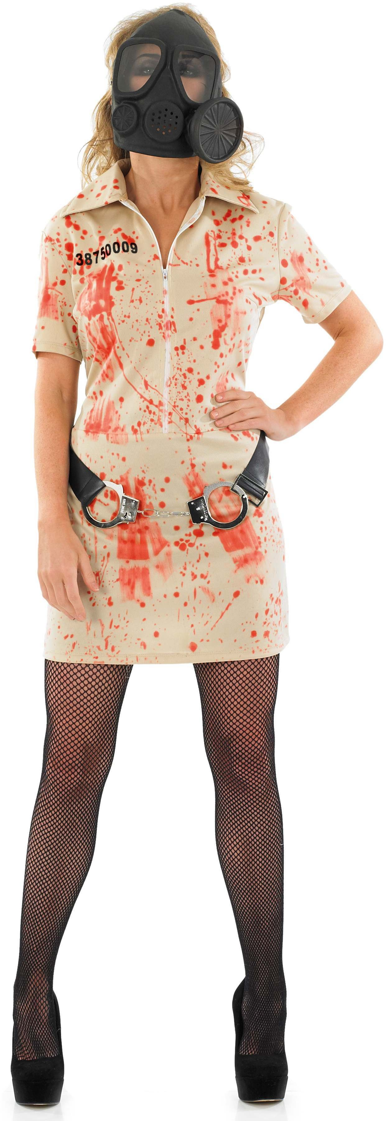 Ladies White (Zombie Prisoner Female)Fancy Dress Costume