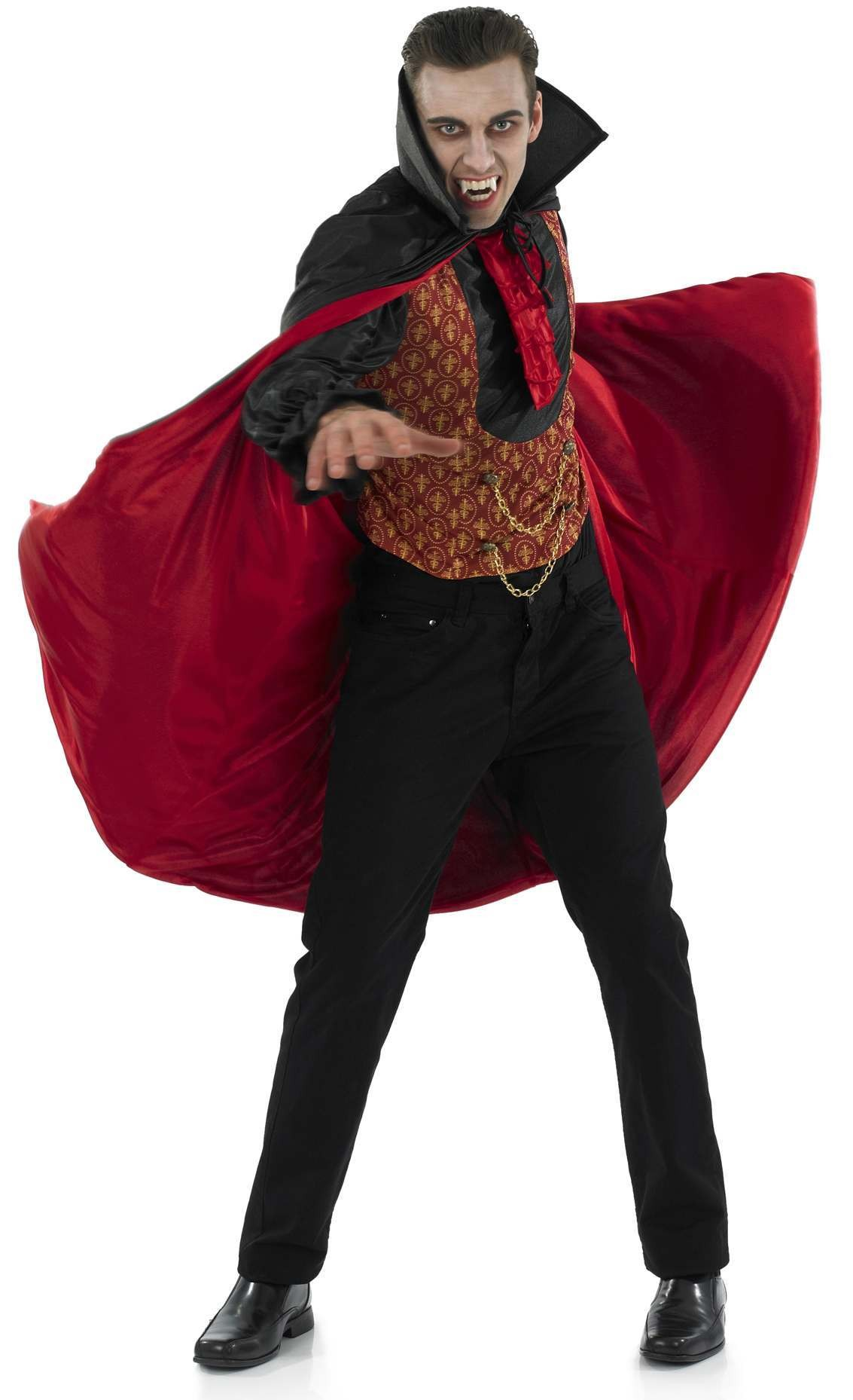 Mens Black/Red (Vampire Count)Fancy Dress Costume