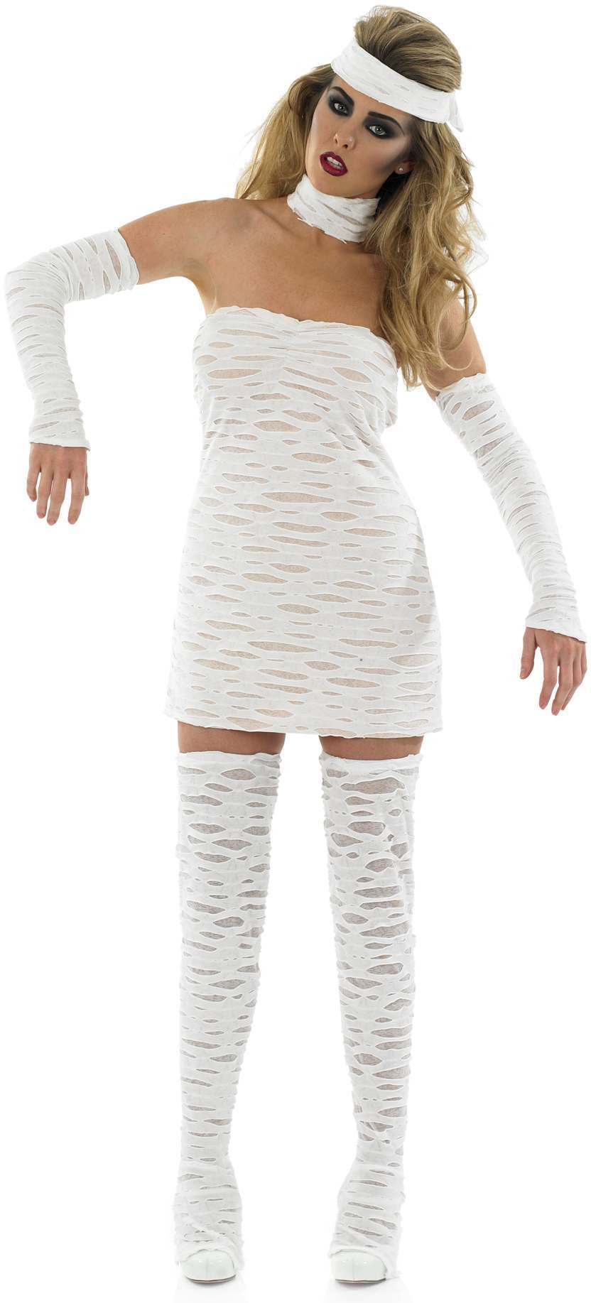Ladies White (Sexy Mummy)Fancy Dress Costume