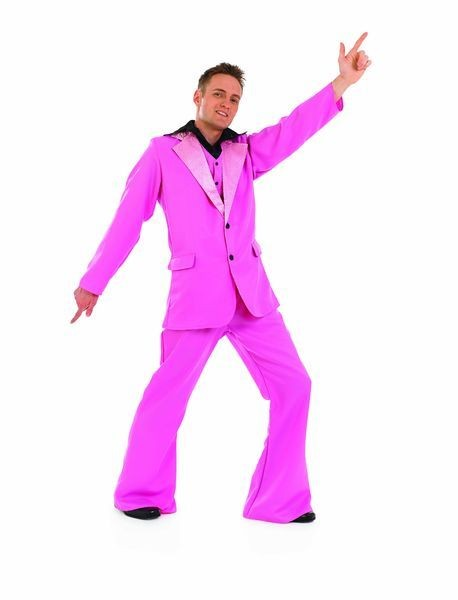 Mens 70'S Pink Disco King/Pimp Fancy Dress Costume