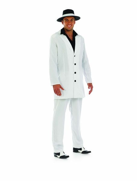 Mens White Gangster/Pimp Fancy Dress Costume