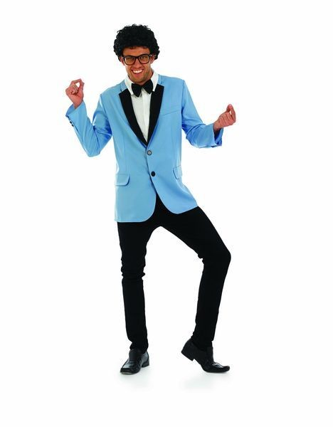 Mens Blue Mods 50S Rock N Roll Star Fancy Dress Costume