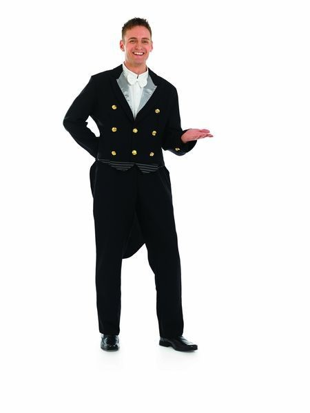 Mens Black Footman/Waiter/Butler Fancy Dress Costume