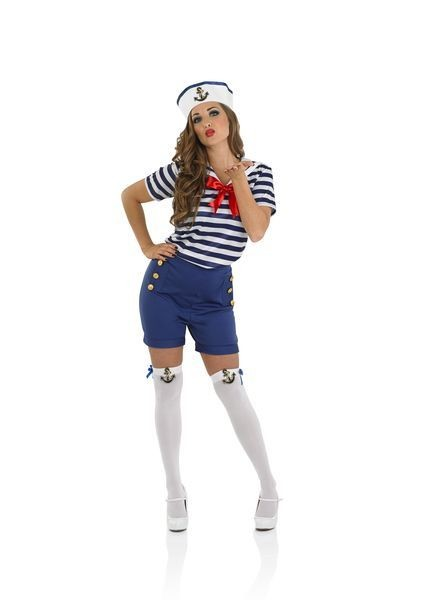 Ladies Sassy Navy Sailor Girl Fancy Dress Costume