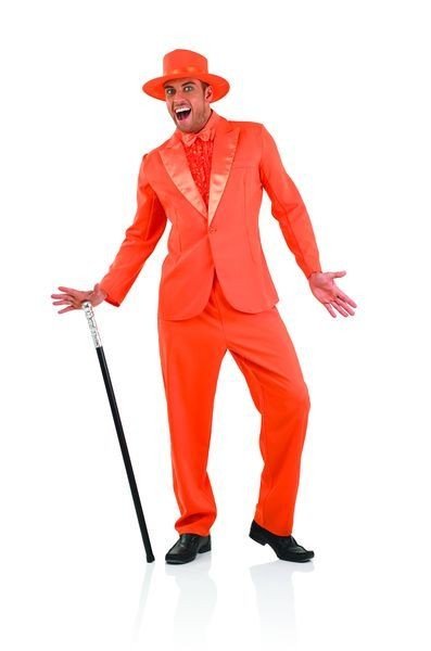 Mens Orange Gangster/Pimp Suit Fancy Dress Costume