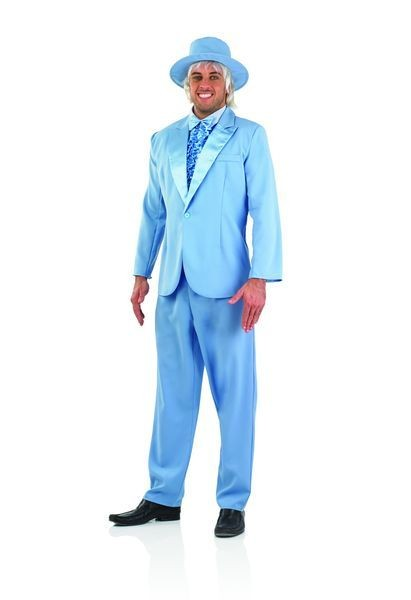 Mens Blue Gangster/Pimp Suit Fancy Dress Costume