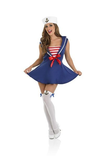 Ladies Blue Sexy Navy Sailor Girl Fancy Dress Costume