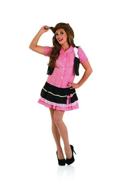 Ladies Pink  Cute Western Cowgirl Fancy Dress Costume