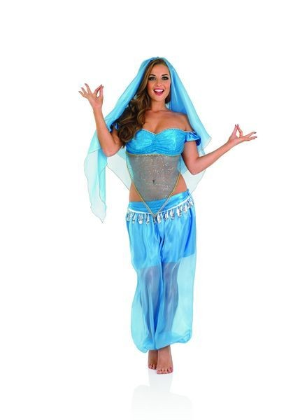 Ladies Blue Arabian Princess/Harem Girl Fancy Dress Costume