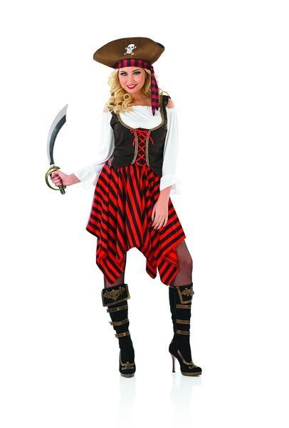 Ladies High Seas Pirate Girl Fancy Dress Costume