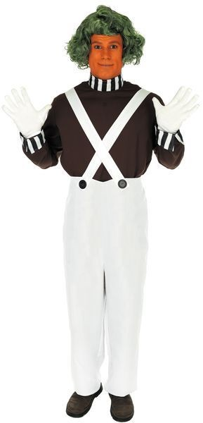 Mens Chocolate Factory Worker With Wig Fancy Dress Costume