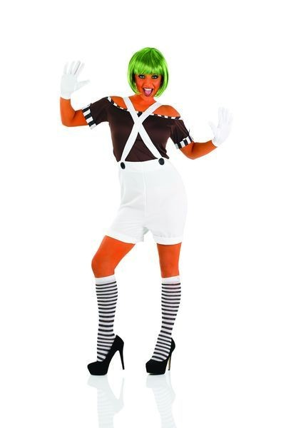 Ladies Sexy Chocolate  Factory Worker With Wig Fancy Dress Costume