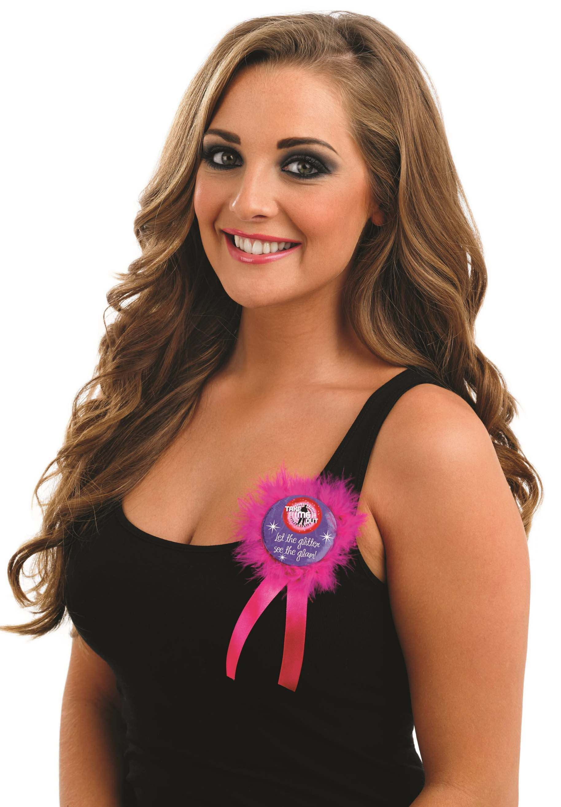Take Me Out Hen Party Accessory Let The Glitter See The Glam Rosette Badge