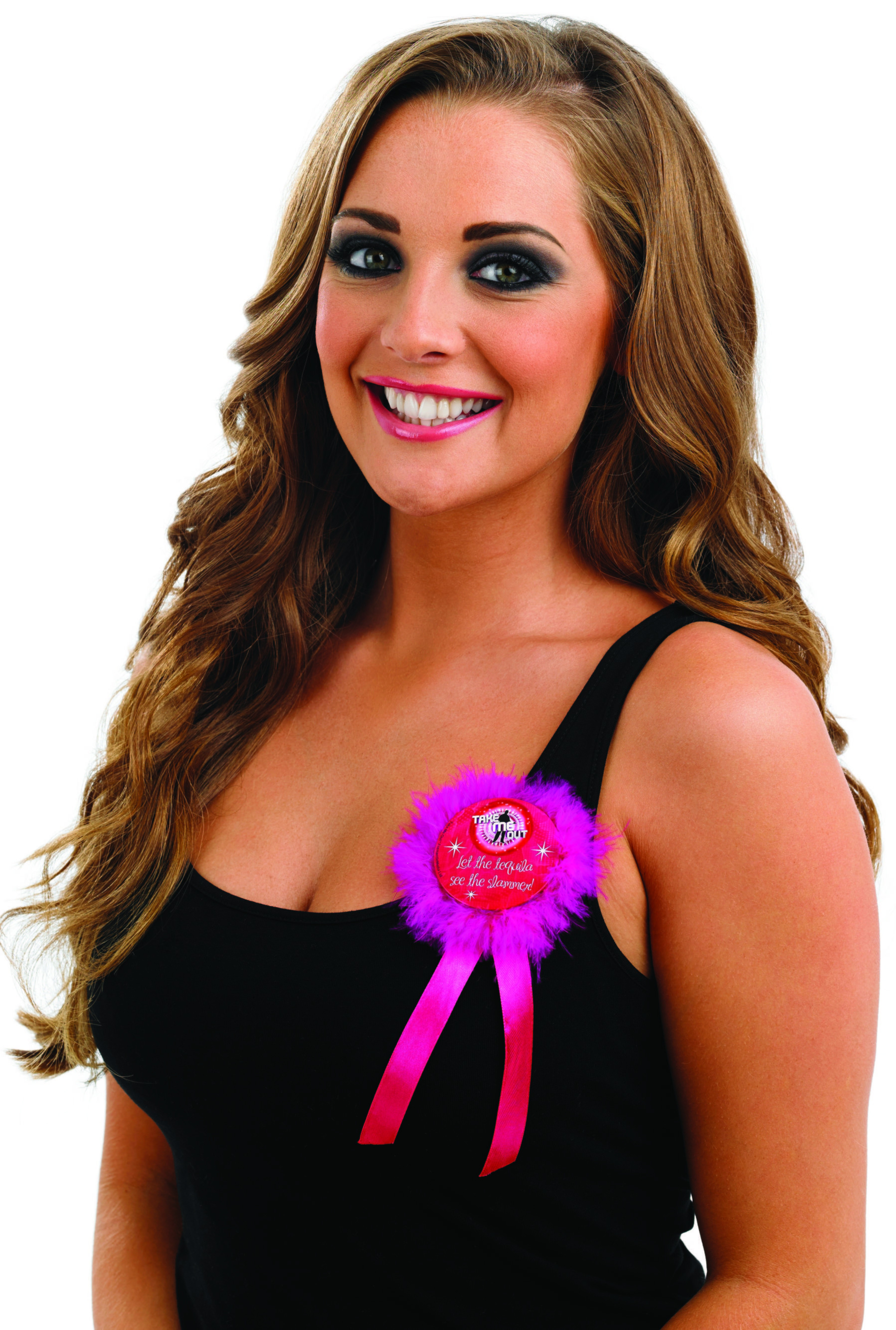 Take Me Out Hen Party Accessory Let The Tequila See The Slammer Rosette Badge