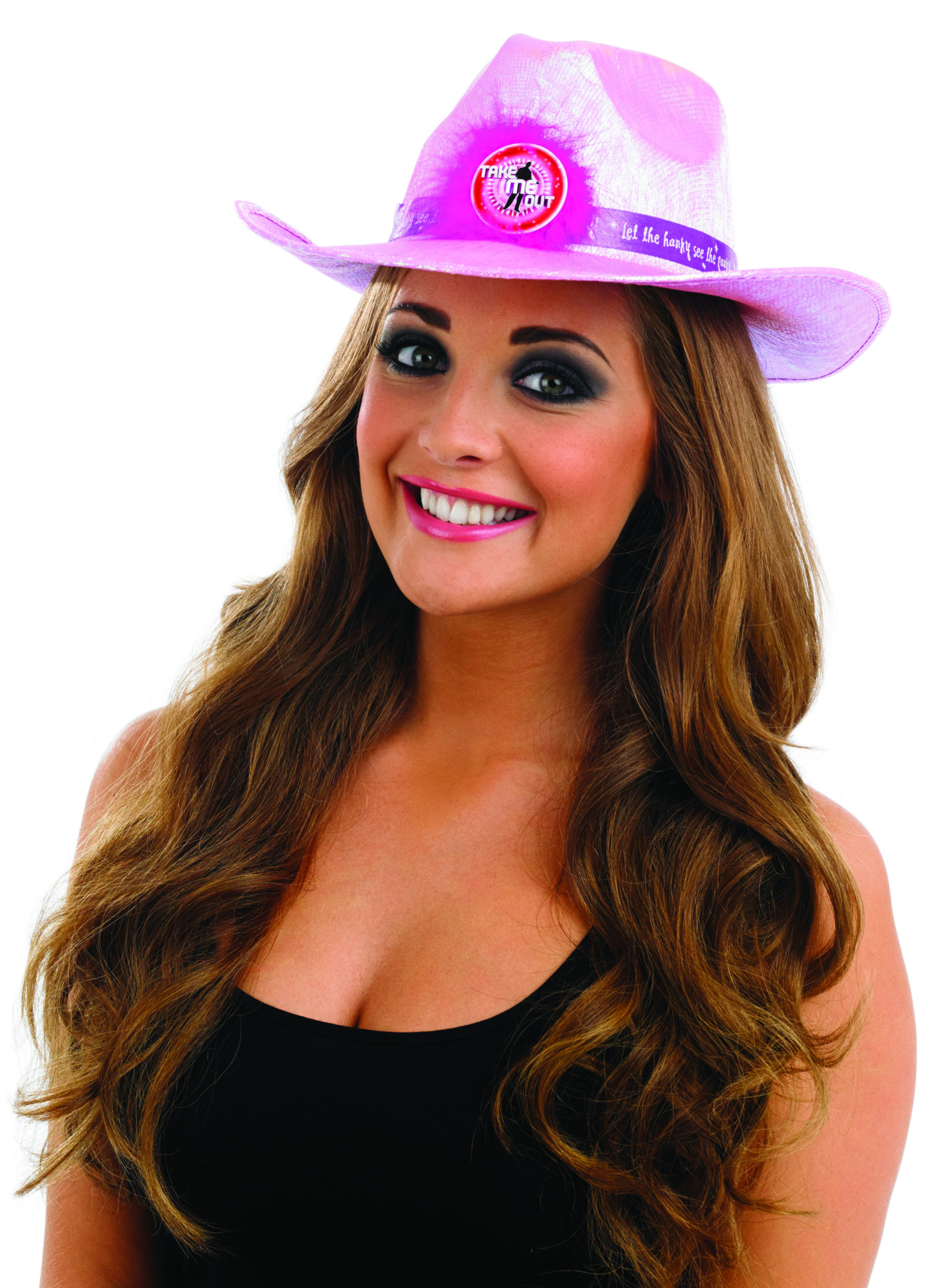 Take Me Out Hen Party Accessory Flashing Cowgirl Hat
