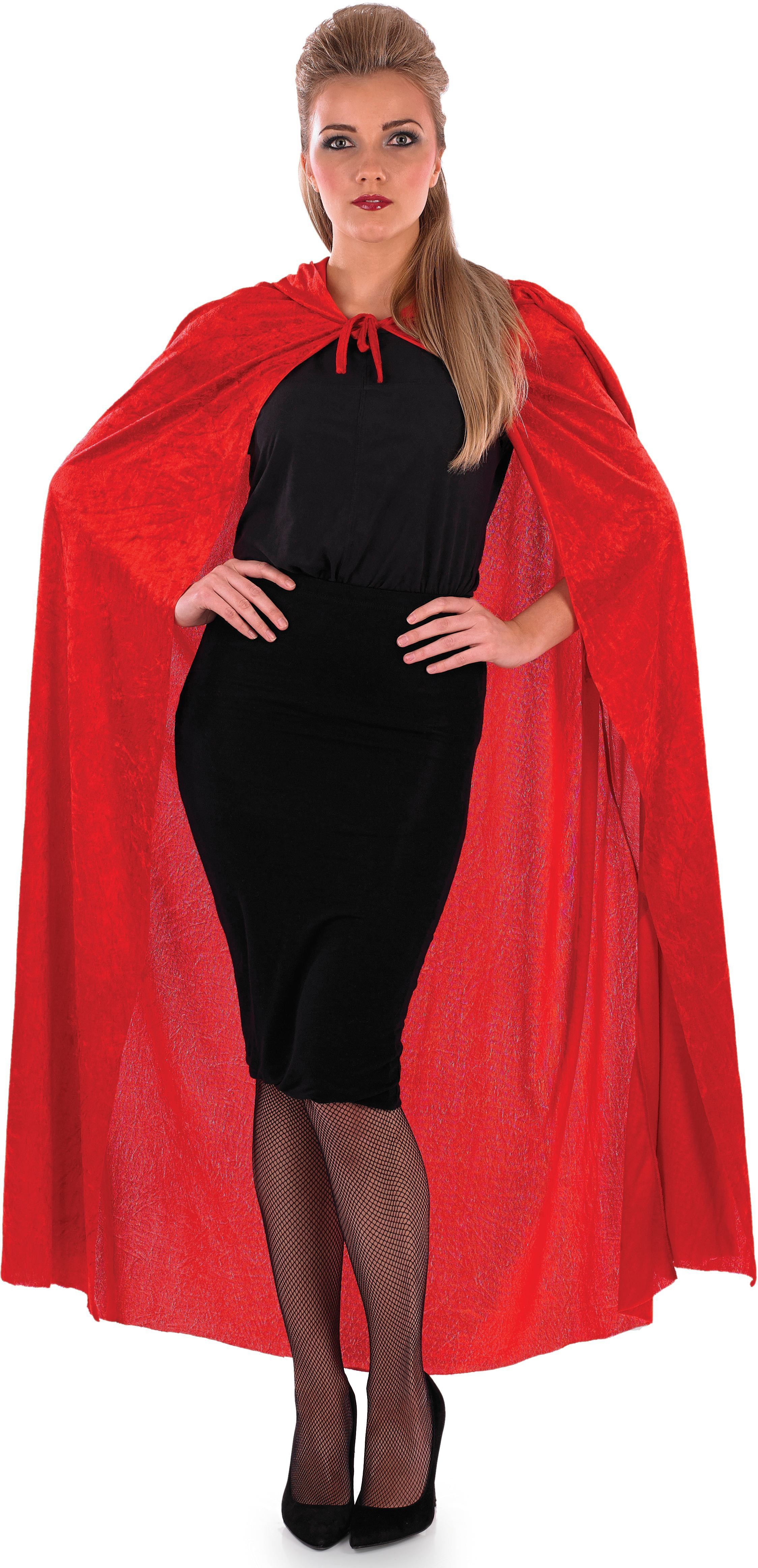 Ladies Red (Red Velour Hooded Cape)Fancy Dress Costume