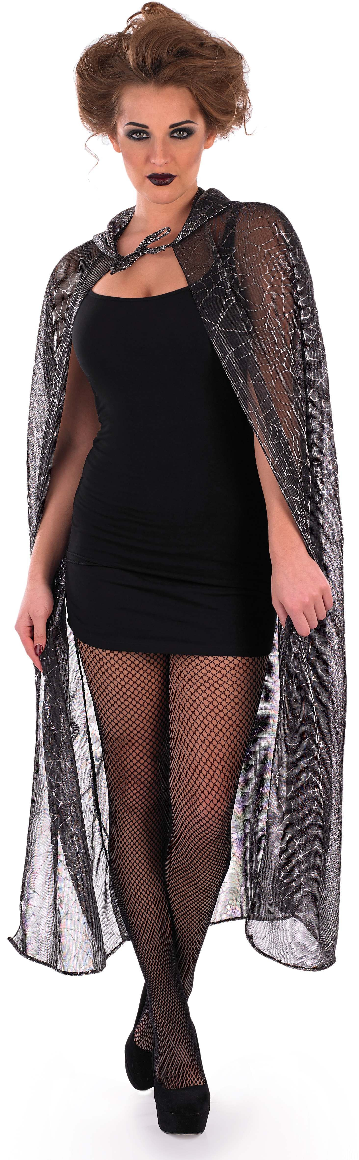 Ladies Grey (Hooded Spider Web Cape)Fancy Dress Costume