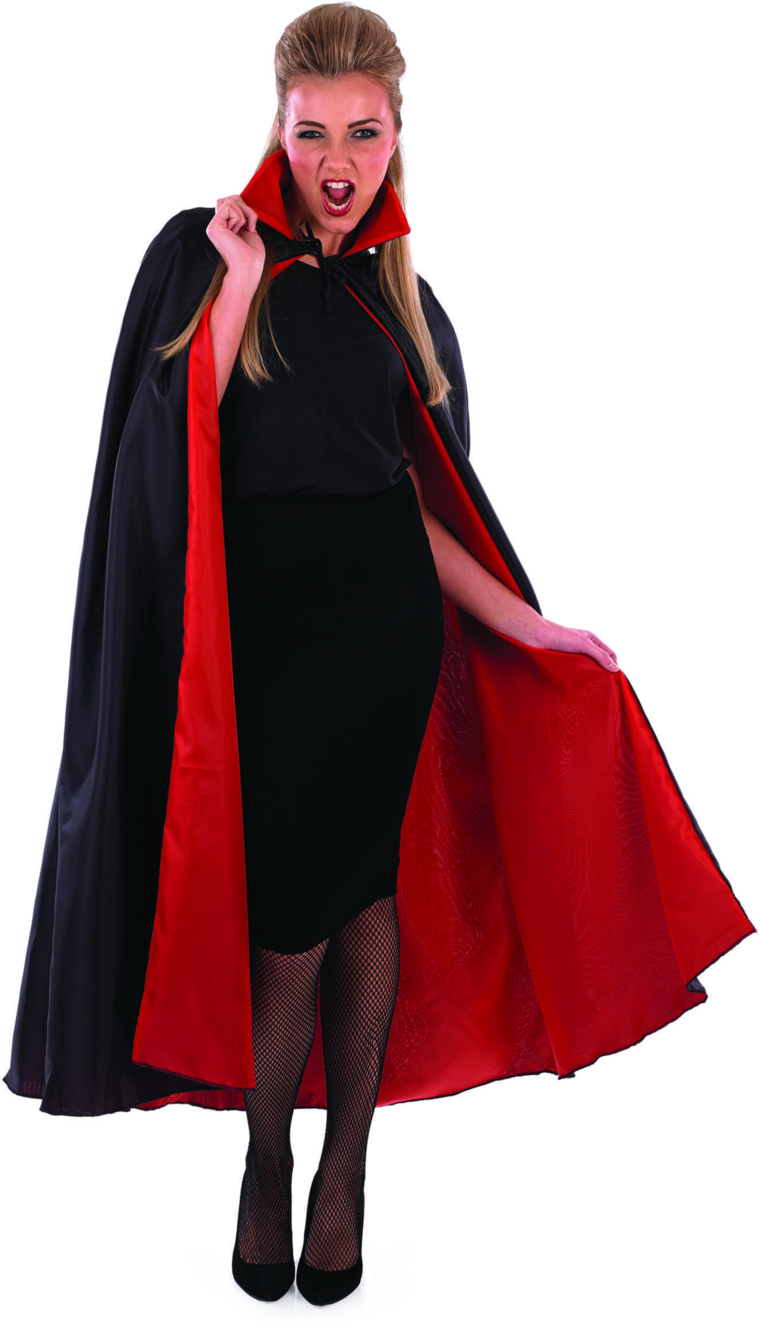 Ladies Black (Black Vampire Cape With Red Lining)Fancy Dress Costume