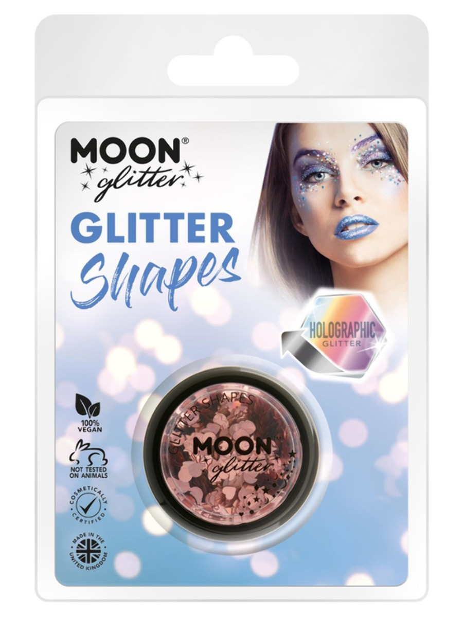 Moon Glitter Holographic Glitter Shapes Rose Gold