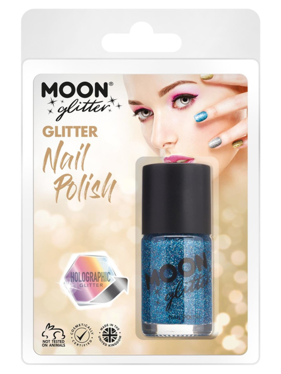 Moon Glitter Holographic Nail Polish Blue