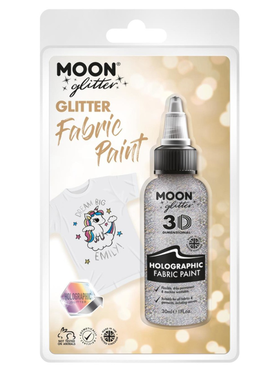 Moon Glitter Holographic Glitter Fabric Paint Silver