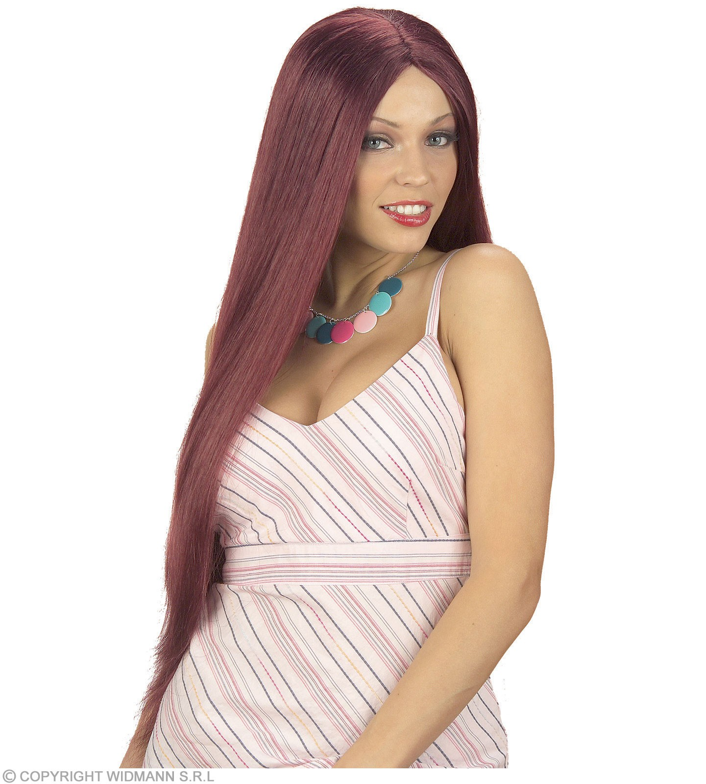 Extra Long Wig Boxed Burgundy - Fancy Dress