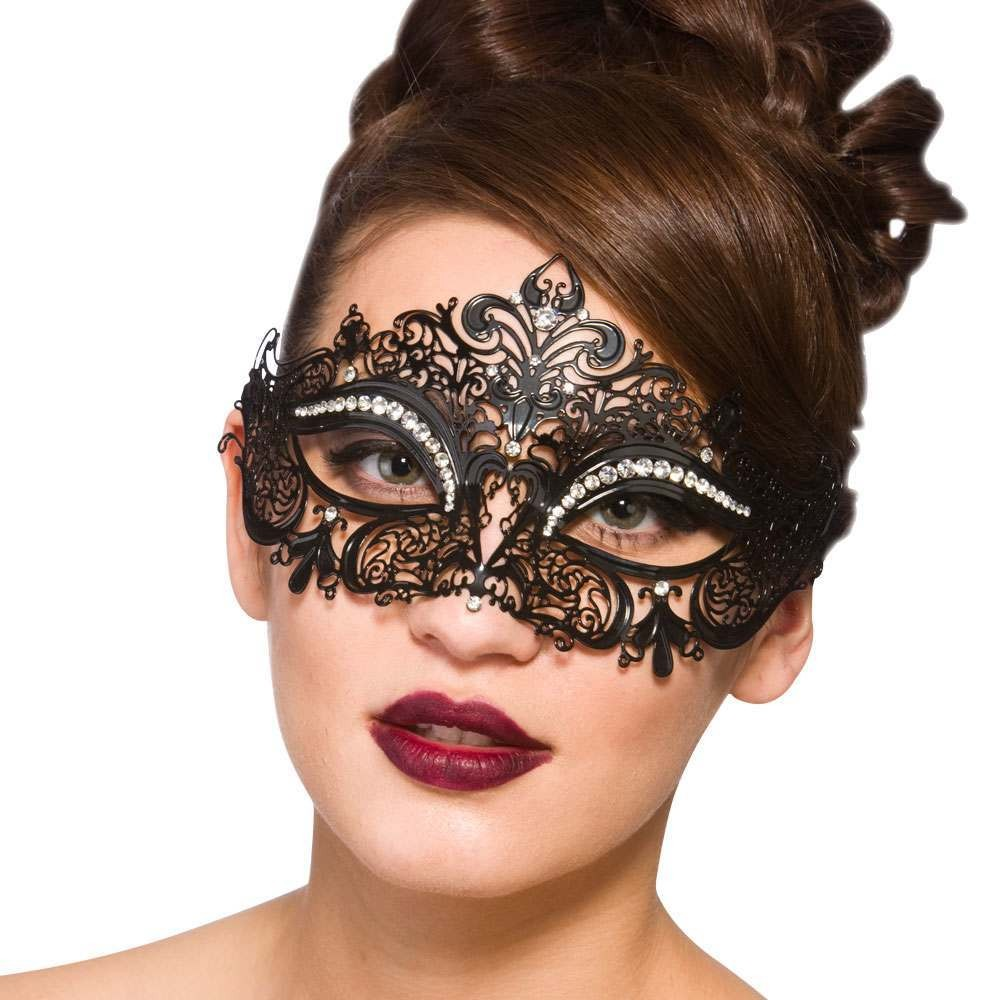 Filigree Eye Mask - Black w/Diamantes Eyemasks