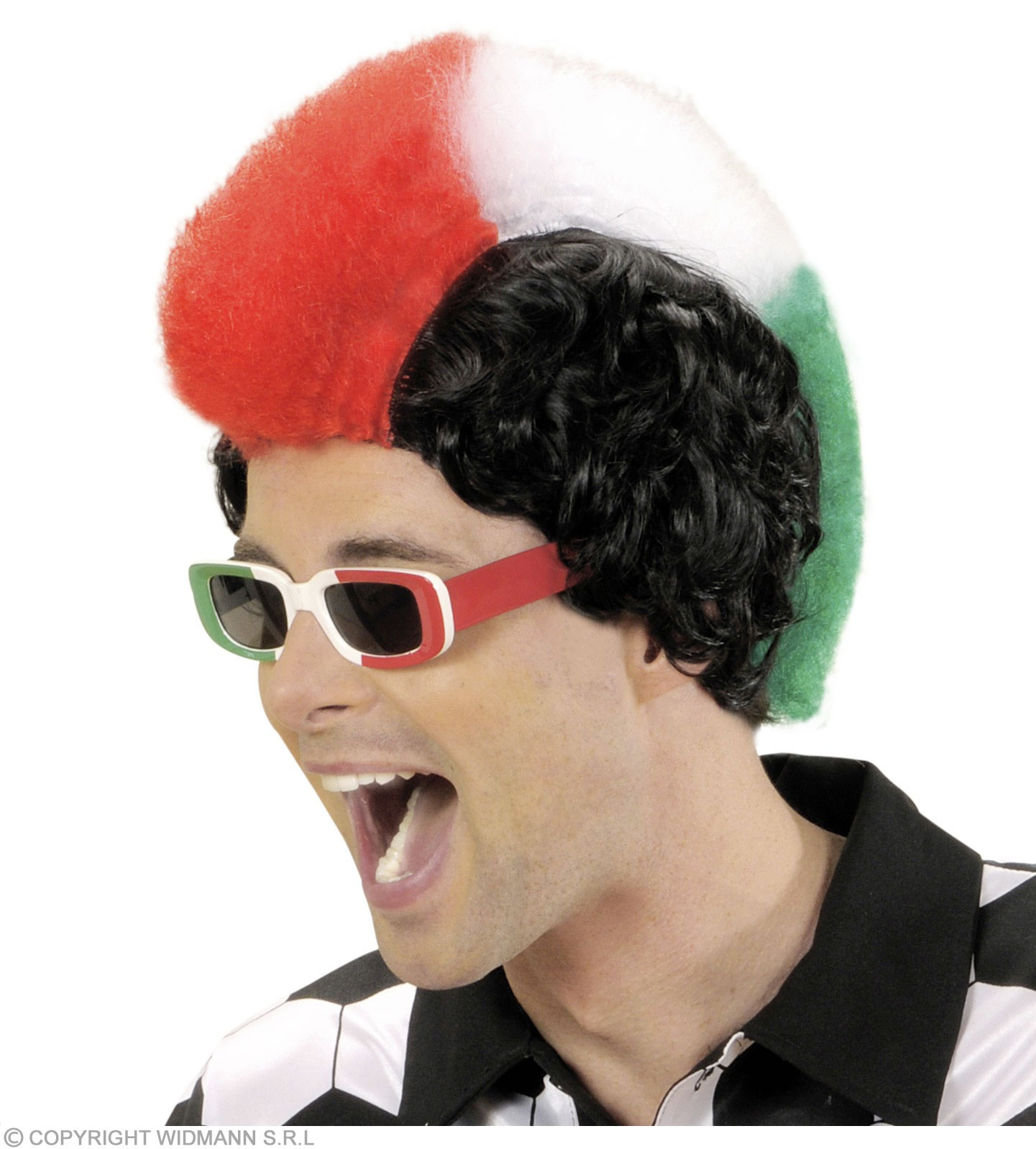 Supporter Man Wig - Green/White/Red - Fancy Dress