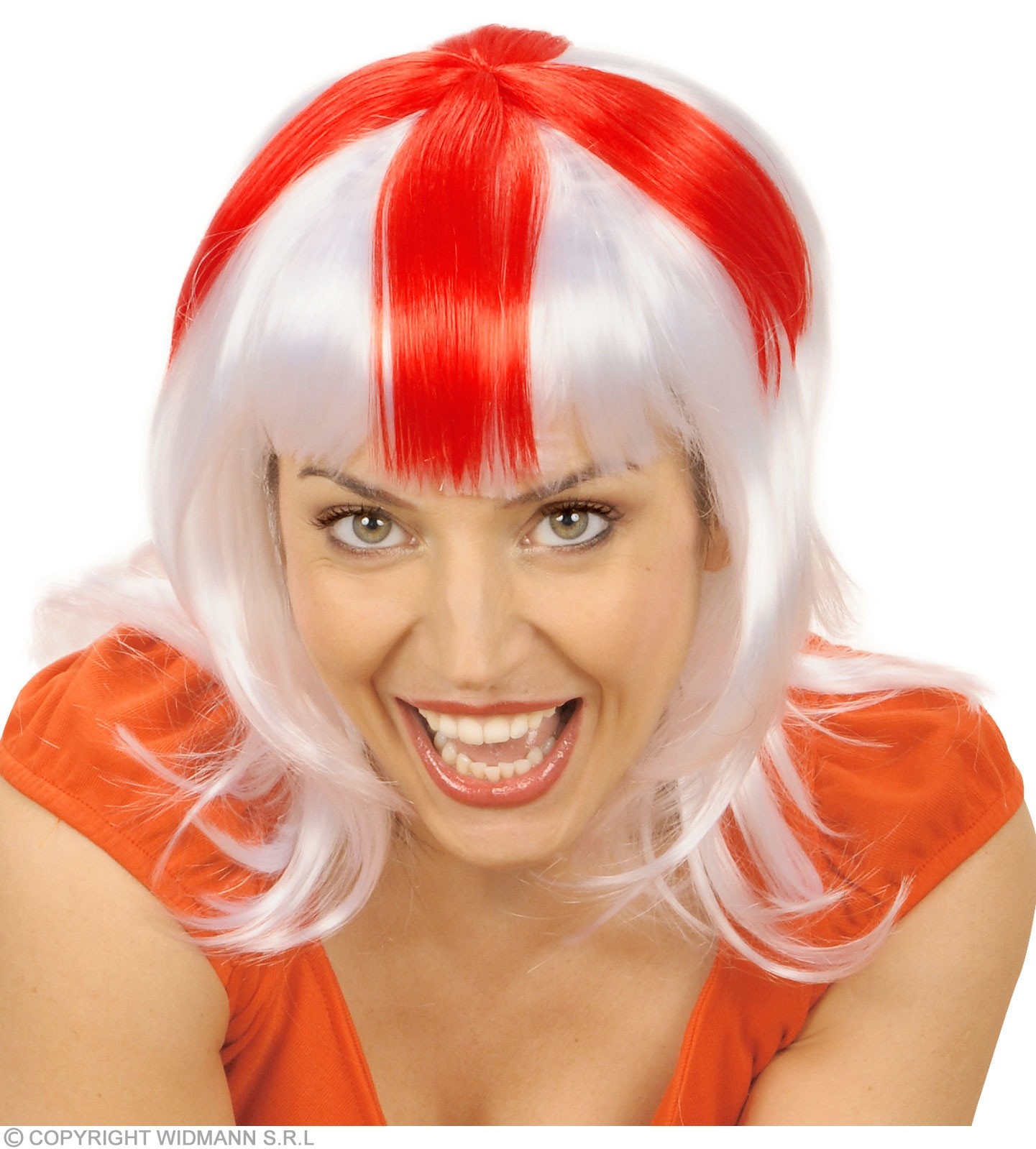 Supporter Woman Wig - White - Red - White - Fancy Dress