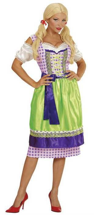 Ladies Green/Purple Oktoberfest Dirndl Bavarian Girl Fancy Dress Costume