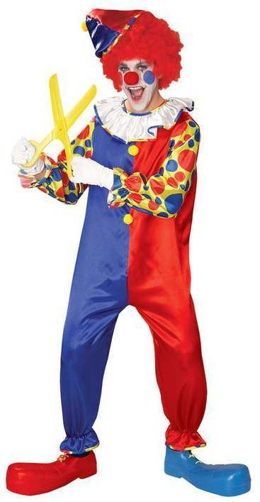 Mens Funny Circus Clown Fancy Dress Costume