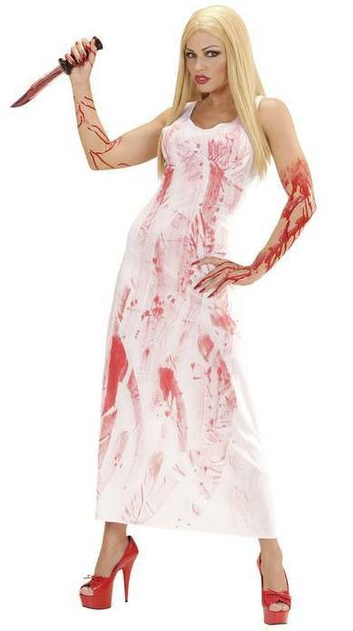 Ladies White Bloody Mary Halloween Fancy Dress Costume