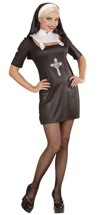 Ladies Black Gothic Nun Fancy Dress Costume