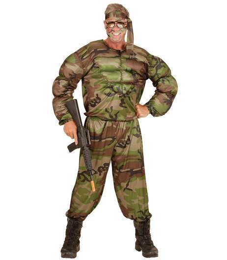 Mens Super Soldier Muscle Shirt Fancy Dress Costume