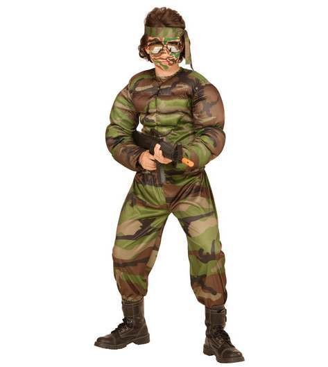 Boys Super Soldier Muscle Shirt Fancy Dress Costume