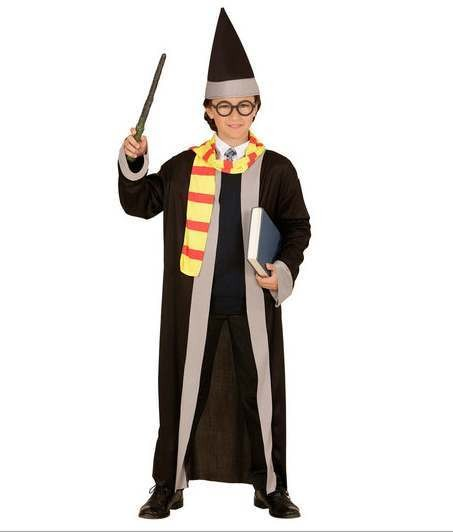 Childs Wizard Robe With Scarf & Hat Fancy Dress Costume