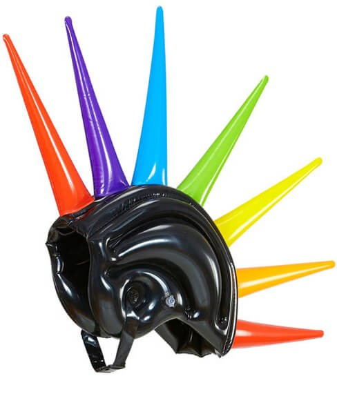 Multicolour Inflatable Spiked Punk Helmet Fancy Dress Accessory