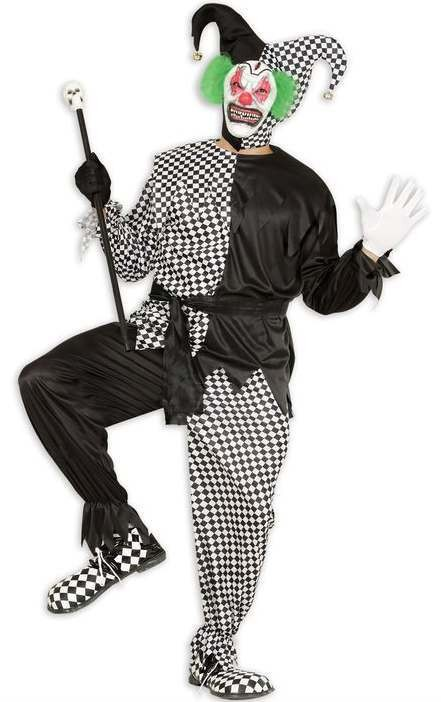 Mens Black/White Evil Jester Halloween Fancy Dress Costume
