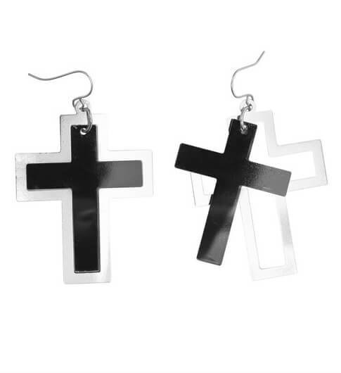 Adults Nun/Goth Black & Silver Earrings Fancy Dress Accessory