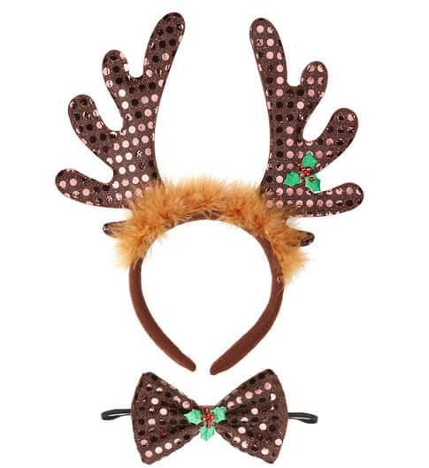 Adluts Sequin Reindeer Horns & Bow Tie Set Fancy Dress Accessory