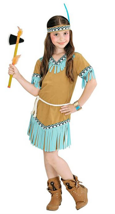 Cute Beige And Blue Native Indian Girl Fancy Dress Costume