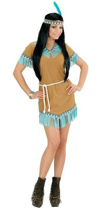 Ladies Beige And Blue Cute Native American Woman Fancy Dress Costume