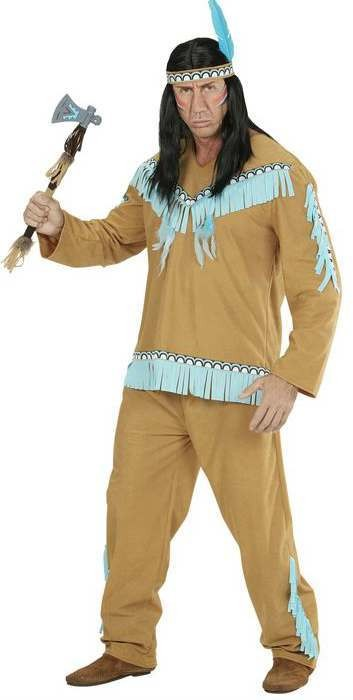 Mens Brown Native Indian Fancy Dress Costume
