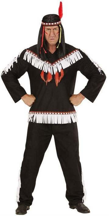 Mens Black Native Indian Fancy Dress Costume