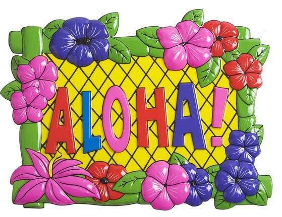 Hawaiian Aloha Sign 48cm x 38cm Fancy Dress Accessory