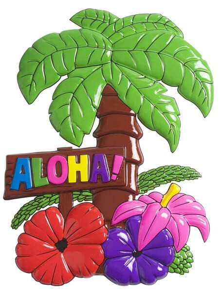 Hawaiian Aloha Palm Trees With Flowers Sign 48cm x 38cm Fancy Dress Accessory
