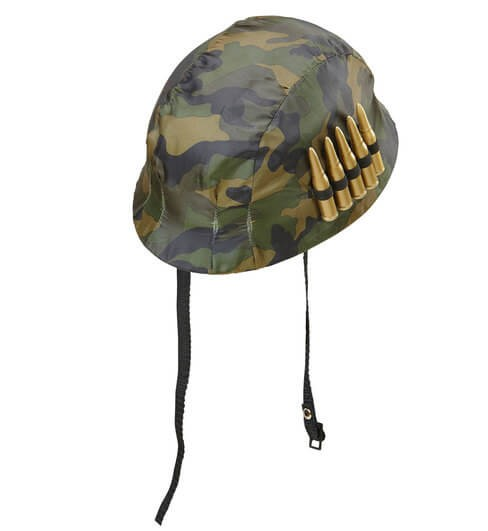 Adult's Soldier Combat Helmet With Bullets Fancy Dress Accessory