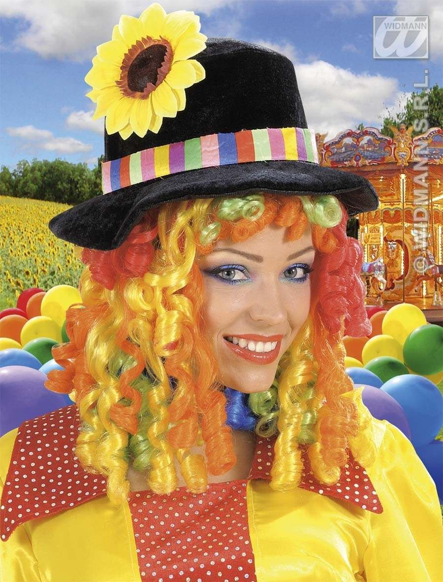 Black Clown Hats W/Flower & Curly Hair Wig, Fancy Dress (Clowns)